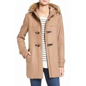 NWT Cole Haan Faux Fur Trim Wool Blend Duffle Coat